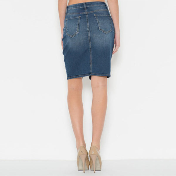 Knee Length Medium Blue Denim Pencil Skirt With A Front Slit Cut For A Sexy Look. - Fashion eNation