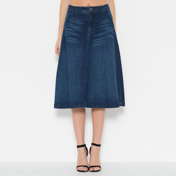 Tea Length Extreme A-Line Denim Skirt With Whisker Detail In A Dark Blue Wash. - Fashion eNation