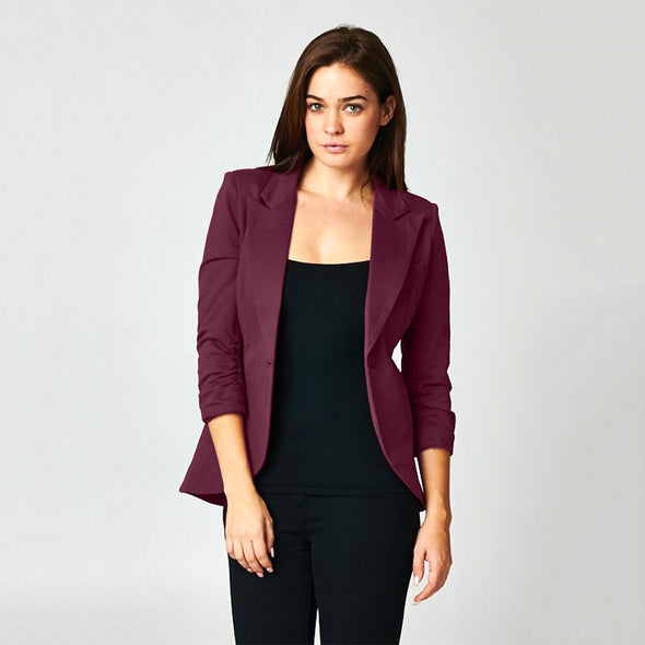 Rounded Hem Blazer Jacket. Single Buttoned Front Rushed Sleeves. - Fashion eNation