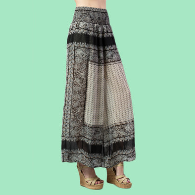 Scarf Border Print Wide Palazzo Pants - Fashion eNation