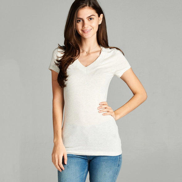 Basic Short Sleeve Wide Band V-Neck Tee Top - Fashion eNation