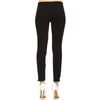 Skinny Leggings with Knee Frill Design with Ankle Zipper and Faux Pocket Detail Black - Fashion eNation