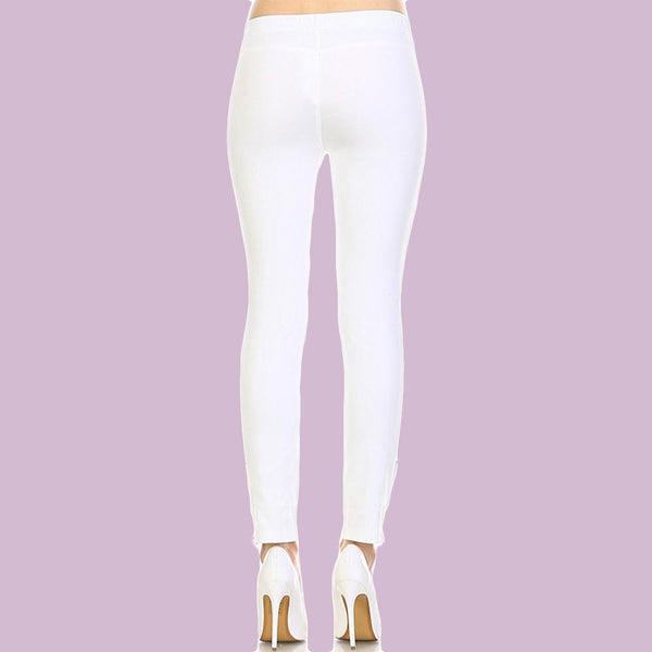 Skinny Leggings with Knee Frill Design with Ankle Zipper and Faux Pocket Detail White - Fashion eNation