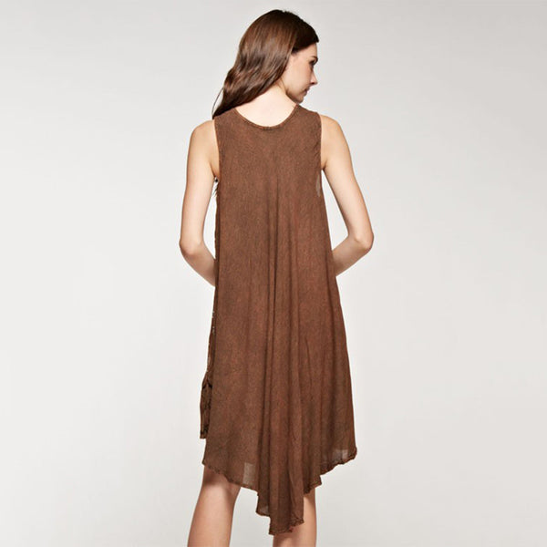 Loose Fit Boho Vintage handkerchief hem Below Knee Length Dress Brown - Fashion eNation