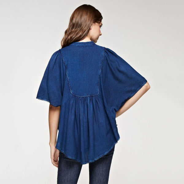 Loose Fit Top fringe Tassels Poncho Style Denim Blue - Fashion eNation