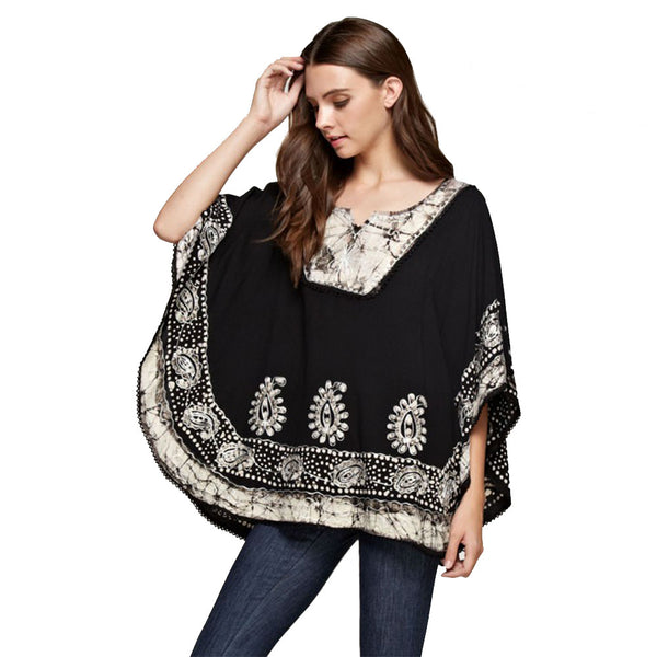 Boho Embroidered Loose Fit Poncho Style Top with Fringed Tassels - Fashion eNation