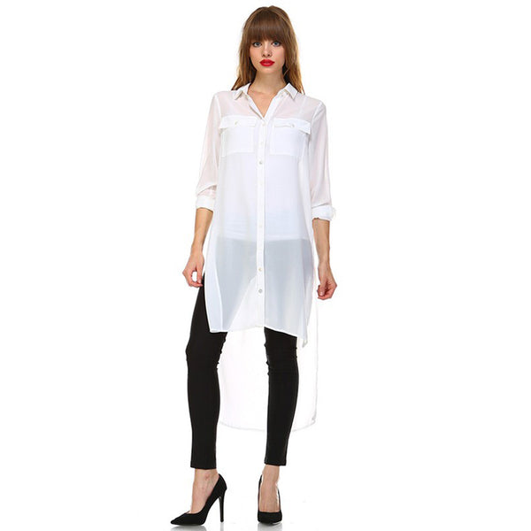 Over Size White Long High Low Button Down Shirt Dress Semi Sheer w/ Two Front Pocket White - Fashion eNation