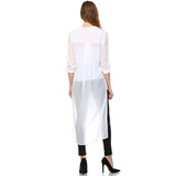 Over Size White Long High Low Button Down Shirt Semi Sheer w/ Two Front Pocket White