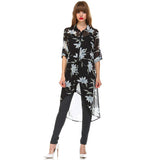 Over Size Flower Long High Low Button Down Shirt Dress Semi Sheer Black - Fashion eNation
