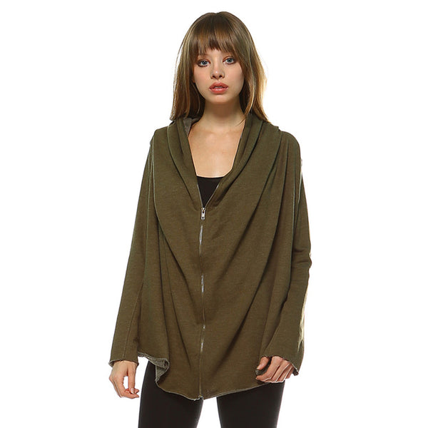 Women's Long Sleeve Full Zipper Oversized French Terry Hoodie Jacket Olive
