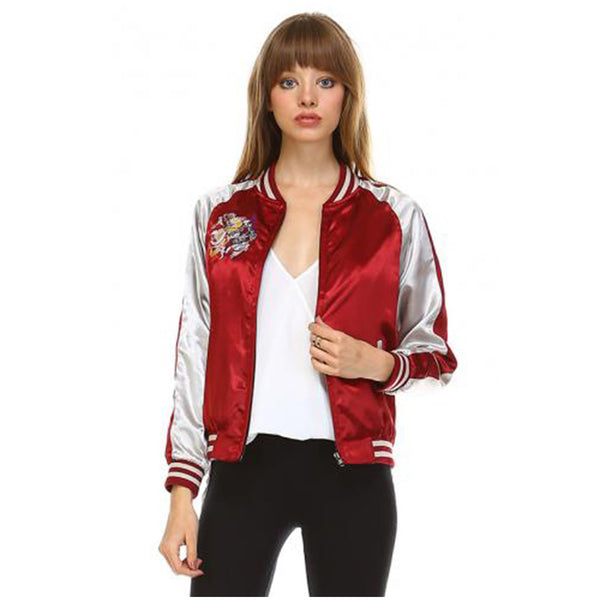 Women's Vintage Bomber Satin Baseball Jacket With Dragon Embroidery Burgundy White