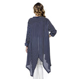 Pinstripe Oversize Button Down Blouse High Low Swallow Tale Shirt Navy