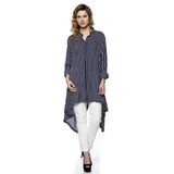 Pinstripe Oversize Button Down Blouse High Low Swallow Tale Shirt Navy - Fashion eNation