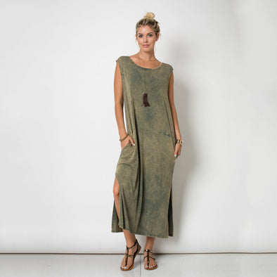 Sleeveless Round Neck Slit Tie Dye Maxi Dress Mineral Washed Olive - Fashion eNation