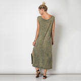Sleeveless Round Neck Slit Tie Dye Maxi Dress Mineral Washed Olive