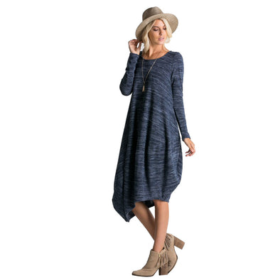 Women's Long Sleeve Loose Fit Light Sweater Dress with Pockets - Fashion eNation