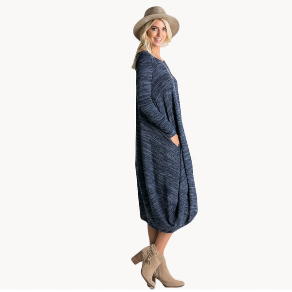 Long sleeve loose fit light sweater dress with pockets