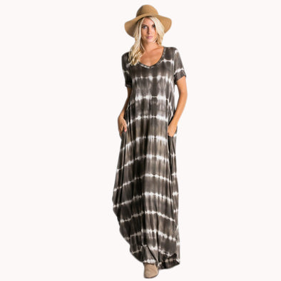 Casual Maxi Short Sleeve Split Tie Dye Maxi Dress - Fashion eNation