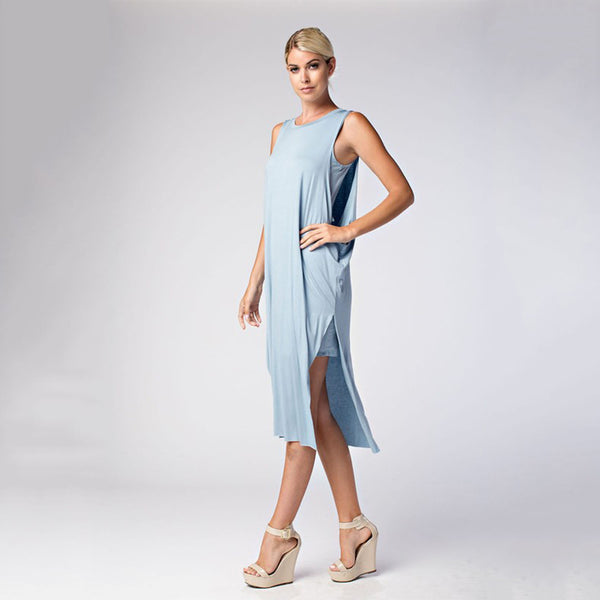 Women's Solid Sleeveless Viscose Bandeau Dress Knee-Length Dress