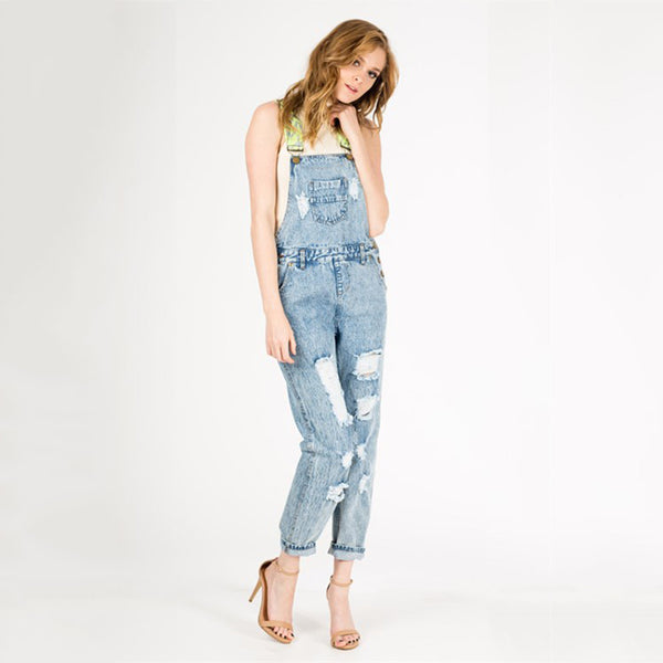 Denim Overalls With Jacquard Cross Back Strap - Fashion eNation