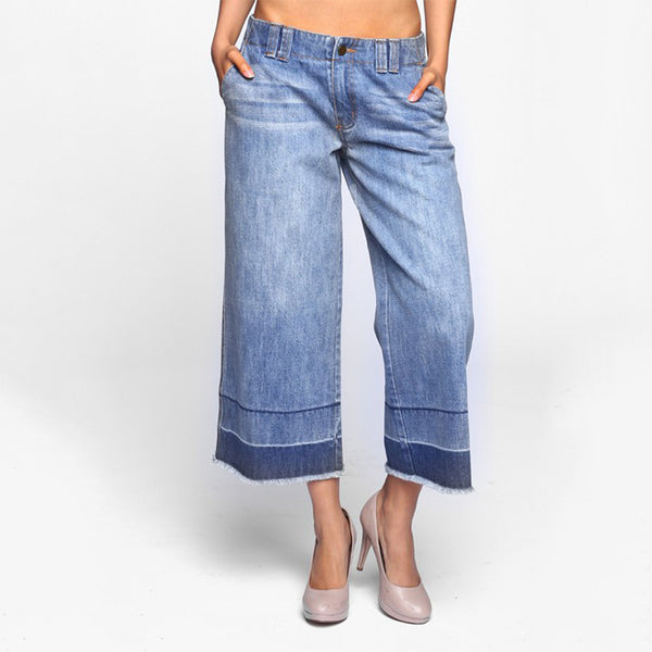 Wide Crop Denim With Raw Edge And Folded Wash Boyfriend Fit Jeans