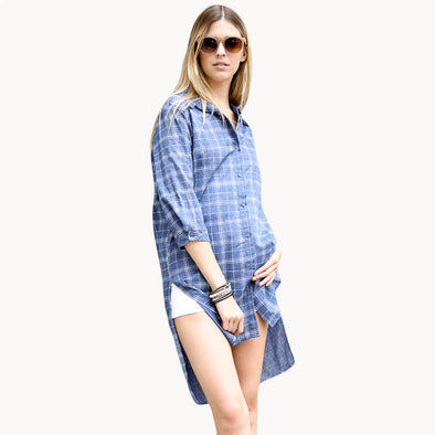 Hi Low Plaid/Check Button Down Long Denim Shirt Dress - Fashion eNation