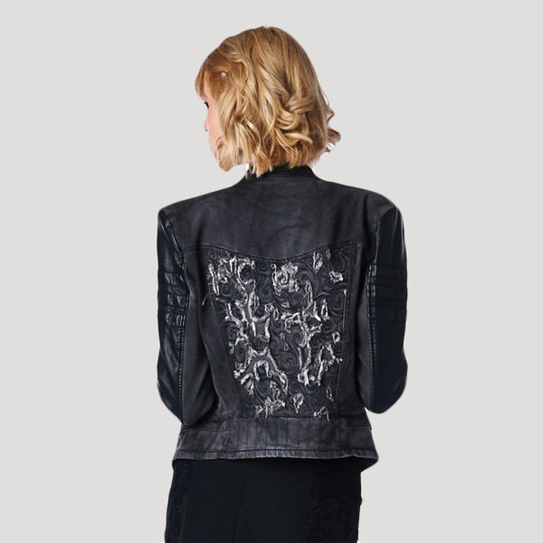 Washed Denim Jacket has a Geometric design on the back with Distressed Threads
