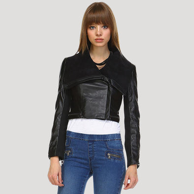 Vintage Cropped PU Real Leather Look & Cotton Combined Jacket - Fashion eNation