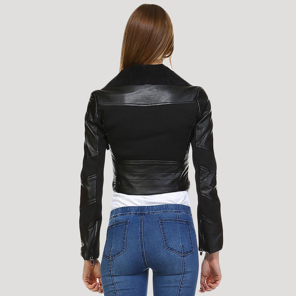 Vintage Cropped PU Real Leather Look & Cotton Combined Jacket