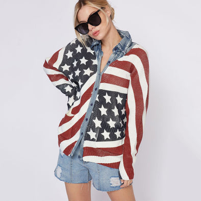 American Flag Washed Sweater Shirts