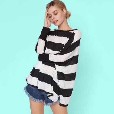 Oversized Striped Woven Top - Fashion eNation