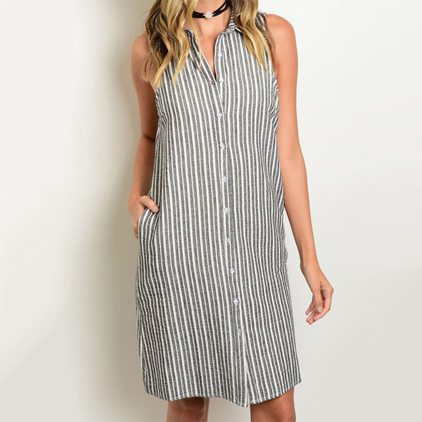 Sleeveless Collared Striped Button Down Shirt Dress Grey - Fashion eNation