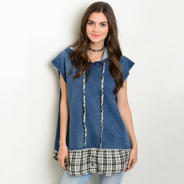 Denim Plaid Oversized Stretchy Top With Hood