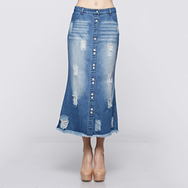 Button Down Washed Raw Edge Denim Long Skirt