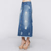 Button Down Washed Raw Edge Denim Long Skirt - Fashion eNation
