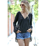 High Low Long Sleeve Cross Layered Dressy Top Black