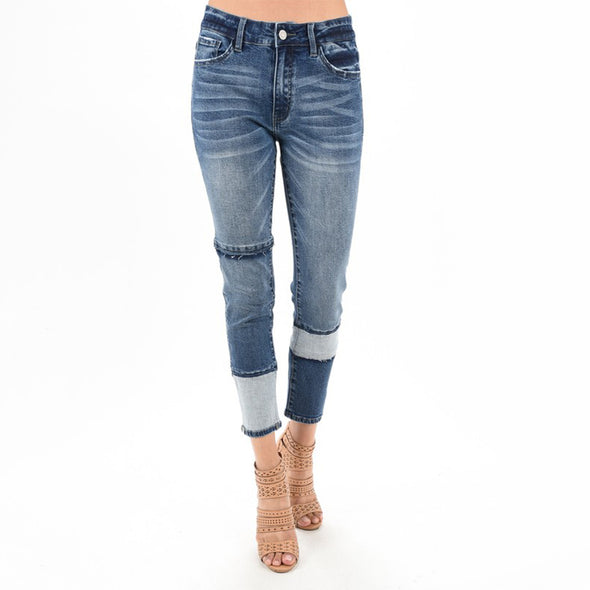 Color Block High Rise Skinny Denim Jeans - Fashion eNation