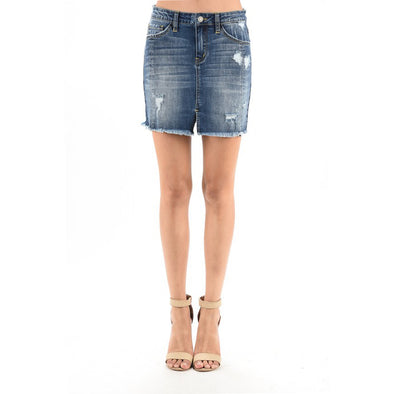 Women's Denim Skirt In Medium Vintage - Fashion eNation