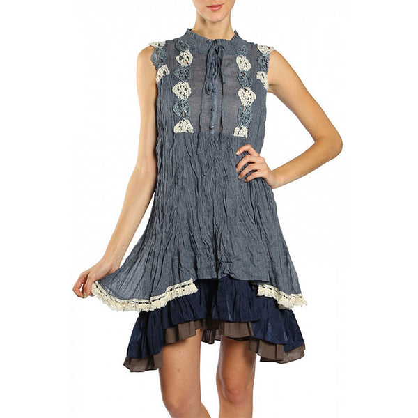 Boho Crochet Detail Double Layered Tiered Crinkle Dress With Smocked Neck