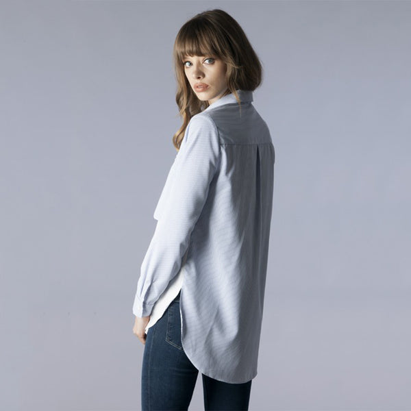 Long Sleeve Zippered Pocket Color Block Double Shirts - Fashion eNation
