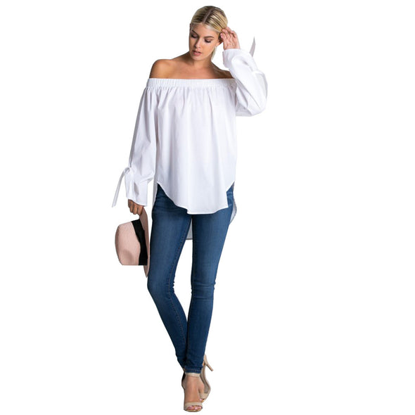 Cold shoulder long sleeve blouse with bardot neckline and wrist tie detail - Fashion eNation
