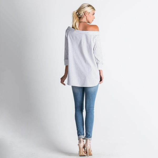 Off Shoulder 3/4 sleeve pin striped blouse with wide neckline