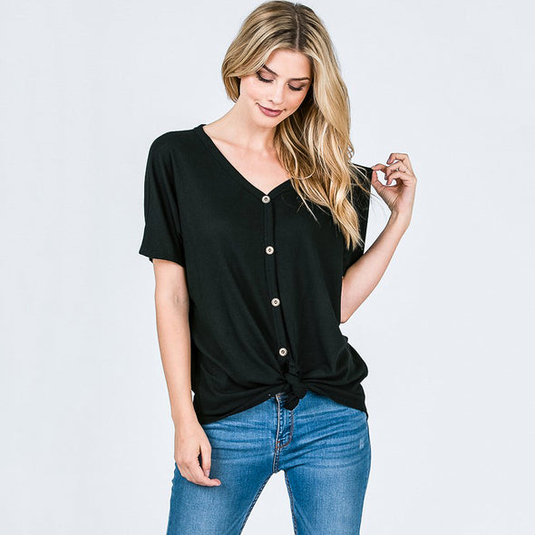 Front Tie Button Up Waffle Top - Fashion eNation