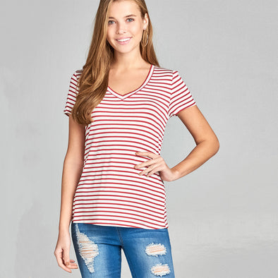 Short Sleeve V-Neck Stripe Rayon Spandex Top - Fashion eNation