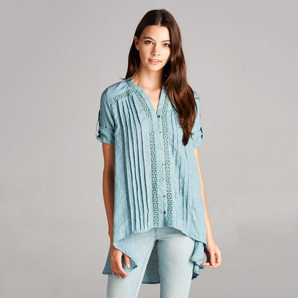 Boho Pleat/Button Down Accented Asymmetric Hem Buttoned Roll Up Sleeve Solid Top