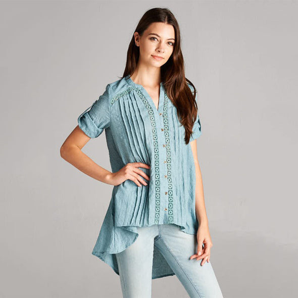 Boho Pleat/Button Down Accented Asymmetric Hem Buttoned Roll Up Sleeve Shirt - Fashion eNation