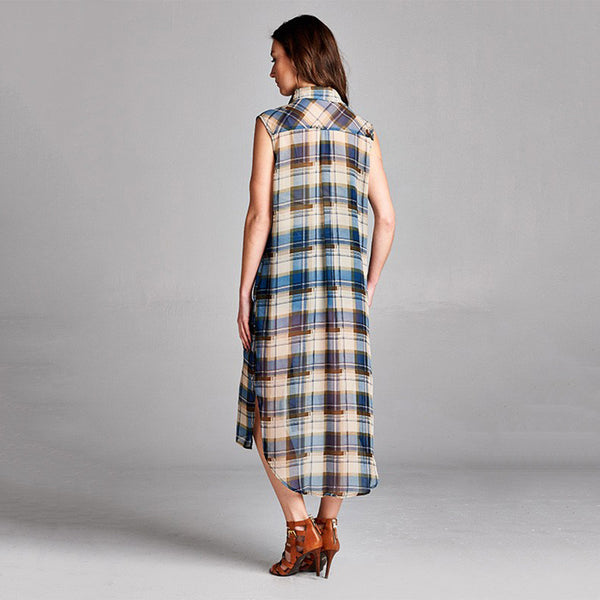 Cuffed Collar Button Down Check/Plaid Chiffon Shirt Dress Retro plaid pattern - Fashion eNation