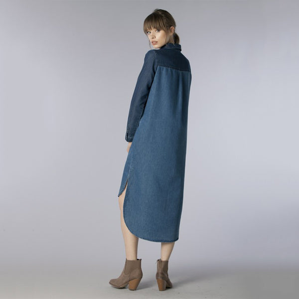Denim High Low Long Color Block Shirt Dress - Fashion eNation