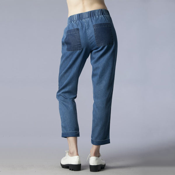 Pocket Point Elastic Waist Denim Pants 100% Cotton