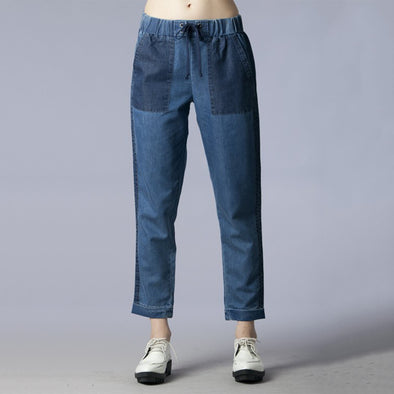 Pocket Point Elastic Waist Denim Pants 100% Cotton - Fashion eNation